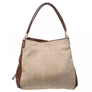 Coach Beige/Brown OP Art Fabric and Leather Madisson Needlepoint Hobo