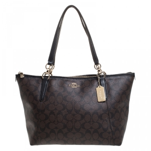 Coach Brown Signature Coated Canvas Ava Top-Zip Tote