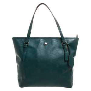 Coach Green Signature Leather Peyton Zip-Top Tote