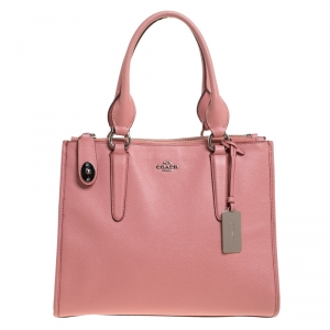 Coach Pink Leather Crosby Carryall Double Zip Tote