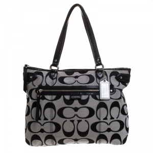 Coach Black/Grey Daisy Outline Canvas and Leather Emma Tote