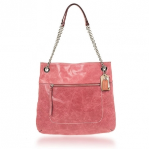 Coach Poppy Leather Slim Camellia Tote