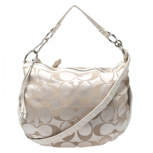Coach Beige Canvas and Leather Hobo