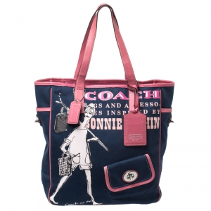 Coach Blue/Pink Bonni Cashin Print Canvas and Leather Tote