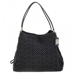 Coach Black OP Art Fabric and Leather Madisson Needlepoint Hobo