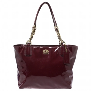 Coach Burgundy Patent Leather Madison Zip Tote
