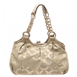 حقيبة كوتش لوركس Parker Linen كانفاس شهيرة ذهبية ميتالك