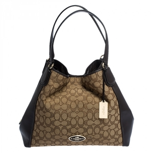Coach Beige and Brown Signature Canvas and Leather Edie Tote