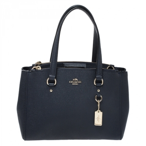 Coach Navy Blue Leather Stanton 26 Carryall Tote