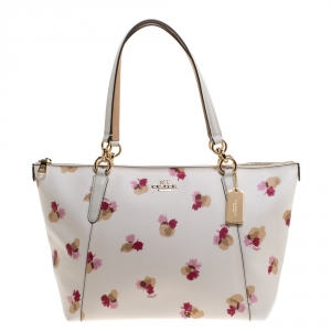 Coach White Printed Coated Canvas Ava Top-Zip Tote