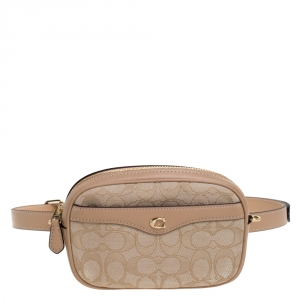 Coach Beige Signature Canvas and Leather Ivie Convertible Belt Bag