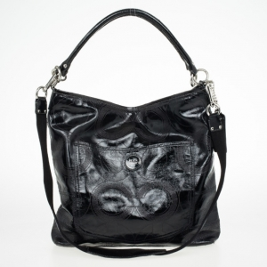 Coach Signature Stripe Black Leather Multifunction Diaper Tote