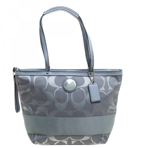 Coach Dark Grey Signature Canvas and Patent Leather Small Tote