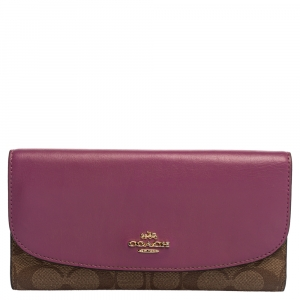 Coach Beige/Magenta Signature Coated Canvas and Leather Continental Wallet