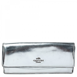 Coach Metallic Silver Patent Leather Continental Wallet