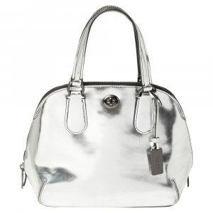 Coach Metallic Silver Patent Leather Satchel