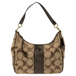 Coach Beige/Brown Signature Canvas and Patent Leather Stripe Convertible Hobo