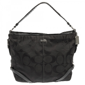 Coach Black Signature Canvas and Patent Leather Katarina Hobo