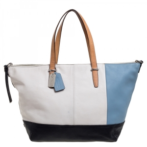 Coach Multicolor Leather Zipped Shopper Tote