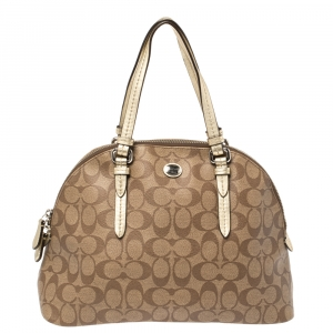 Coach Brown/Gold Signature Coated Canvas and Leather Peyton Cora Satchel