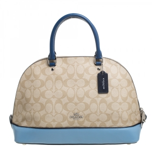 Coach Beige/Blue Signature Coated Canvas And Leather Sierra Satchel