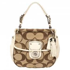 Coach Ivory/Beige Signature Canvas and Leather 70th Anniversary Limited Edition Willis Bag