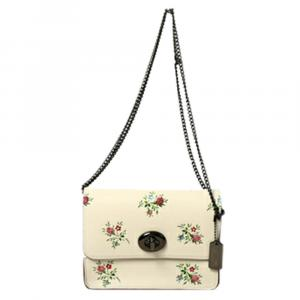 Coach Ivory Pink Leather Bowery Floral Crossbody bag