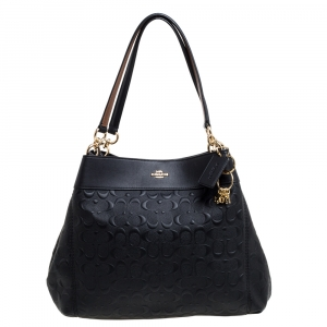 Coach Black Embossed Leather Lexy Shoulder Bag