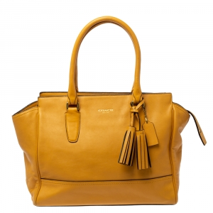 Coach Mustard Leather Candace Carryall Tote