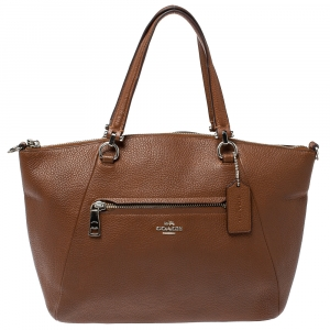 Coach Brown Pebbled Leather Prairie Satchel