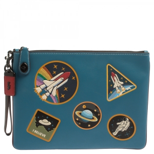 Coach Blue Leather Nasa Space Collection Wrislet Pouch