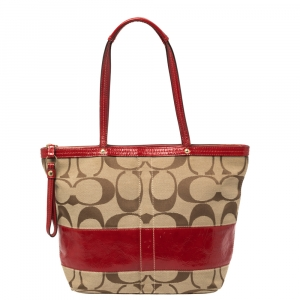 Coach Beige/Red  Signature Canvas And  Patent Leather Zipped Tote