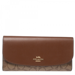 Coach Brown Signature PVC and Leather Saddle Flap Continental Wallet