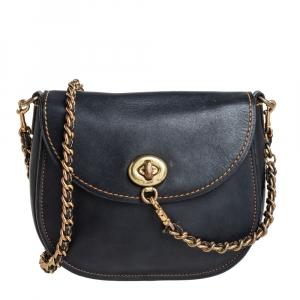 Coach Black Leather Turnlock Saddle Bag