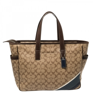 Coach Brown/Beige Signature Coated Canvas and Leather Tote