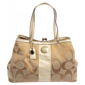 Coach Beige Signature Canvas and Patent Leather Kisslock Framed Carryall Tote