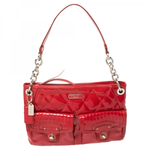 Coach Red Quilted Patent Leather Hippie Pocket Top Handle Bag