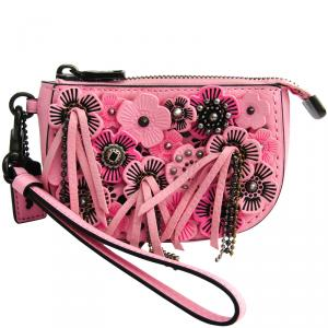 Coach Pink Leather Floral Wristlet Pouch Bag
