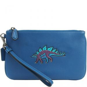 Coach Blue Leather Wristlet Pouch Bag