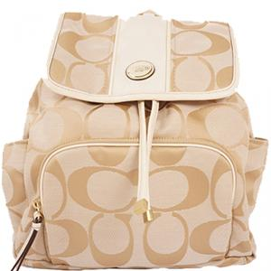 Coach Beige Signature Canvas Backpack