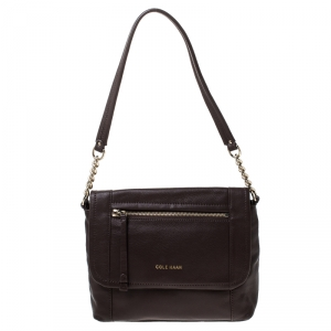 Cole Haan Brown Leather Flap Crossbody Bag