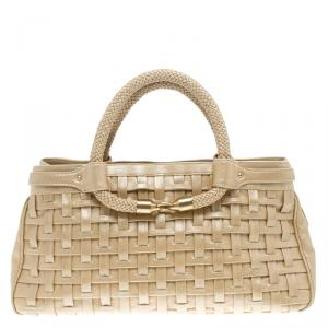 Cole Haan Beige Woven Leather Tote