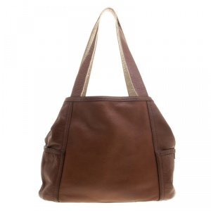 Cole Hann Brown/Gold Leather Reversible Tote