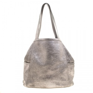 Cole Hann Metallic Grey Leather Reversible Tote