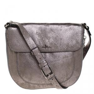Cole Haan Grey Textured Leather Flap Zip Round Crossbody Bag