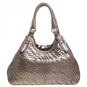 Cole Haan Metallic Silver Woven Leather Triangle Shoulder Bag