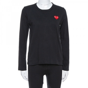 Comme des Garçons Play Black Cotton Jersey Long Sleeve T-Shirt M - used