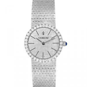 Corum Silver 18K White Gold Diamond Vintage Women's Wristwatch 24MM