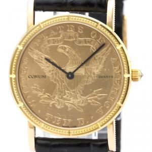Corum 18K Yellow Gold and Leather Coin Watch Quartz Women's Wristwatch 28MM