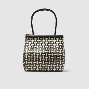 Cult Gaia Black Via Woven Straw and Bamboo Tote Bag